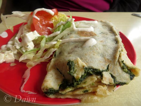 Spinach & cheese crepe at Café Babalú