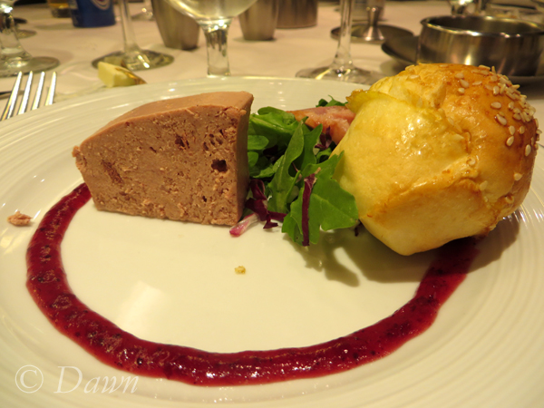 Pate as an appetizer before our meal on the St. Lawrence Royal Caribbean cruise.