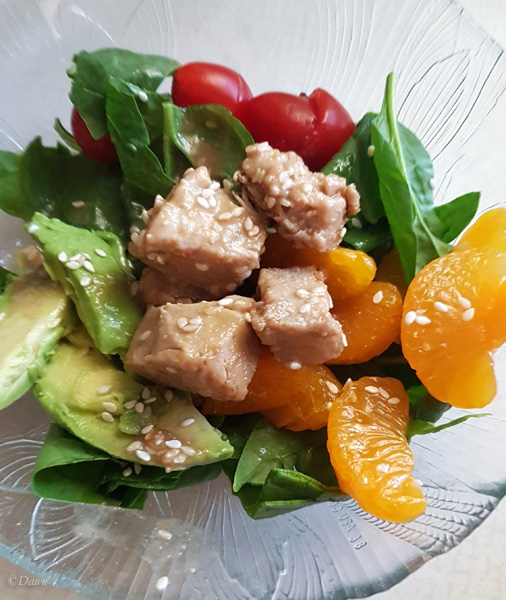 My housemate's revised salad with cooked tuna